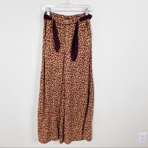 Free People Bennie Leopard Wide Leg Boho Soft Pant